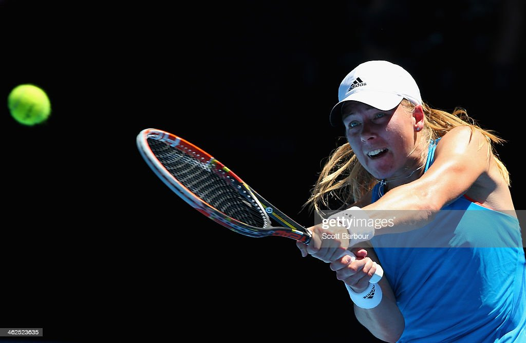<a gi-track='captionPersonalityLinkClicked' href=/galleries/search?phrase=Johanna+Larsson&family=editorial&specificpeople=6727077 ng-click='$event.stopPropagation()'>Johanna Larsson</a> of Sweden plays a backhand in her first round match against Victoria Azarenka of Belarus during day two of the 2014 Australian Open at Melbourne Park on January 14, 2014 in Melbourne, Australia.