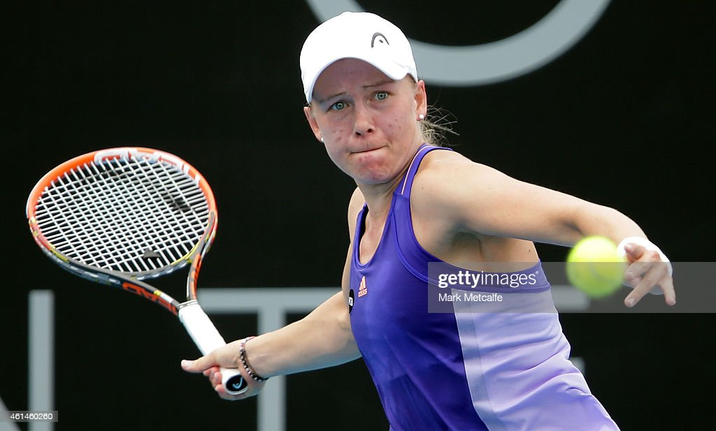 <a gi-track='captionPersonalityLinkClicked' href=/galleries/search?phrase=Johanna+Larsson&family=editorial&specificpeople=6727077 ng-click='$event.stopPropagation()'>Johanna Larsson</a> of Sweden plays a forehand in her second round match against Kurumi Nara of Japan during day three of the Hobart International at Domain Tennis Centre on January 13, 2015 in Hobart, Australia.