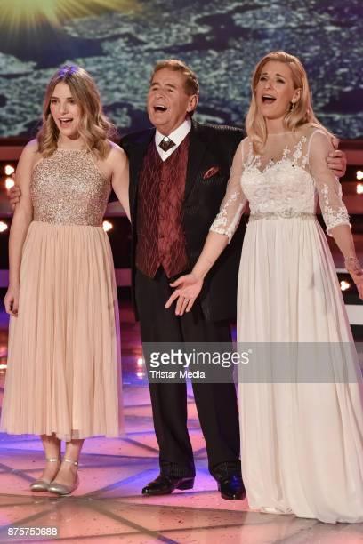 Johanna Mross her grand father Eberhard Hertel and her mother Stefanie Hertel perform during the Stefanie Hertel Show 'Die grosse Show der...