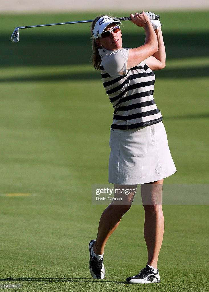 Johanna Mundy of England plays her second shot at the 16th hole during the first round of the Dubai Ladies Masters on the Majilis Course at the...