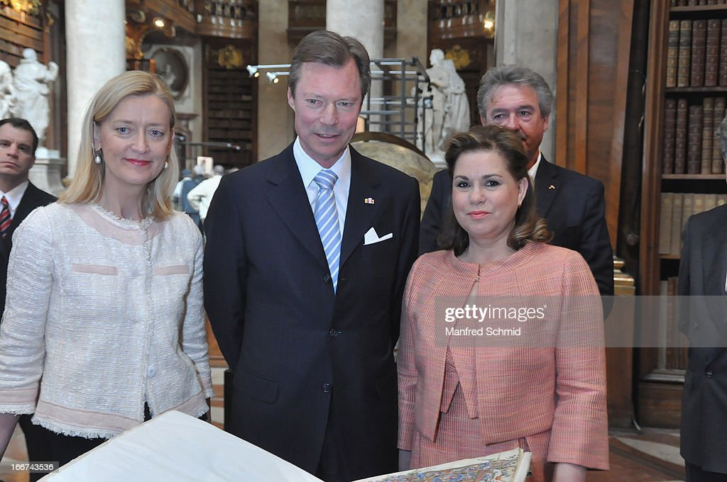 Johanna Rachinger, Henri von Nassau, Grand Duke of Luxembourg and his wife Maria Teresa Mestre visit the National galery in Vienna on April 16, 2013 in Vienna, Austria.