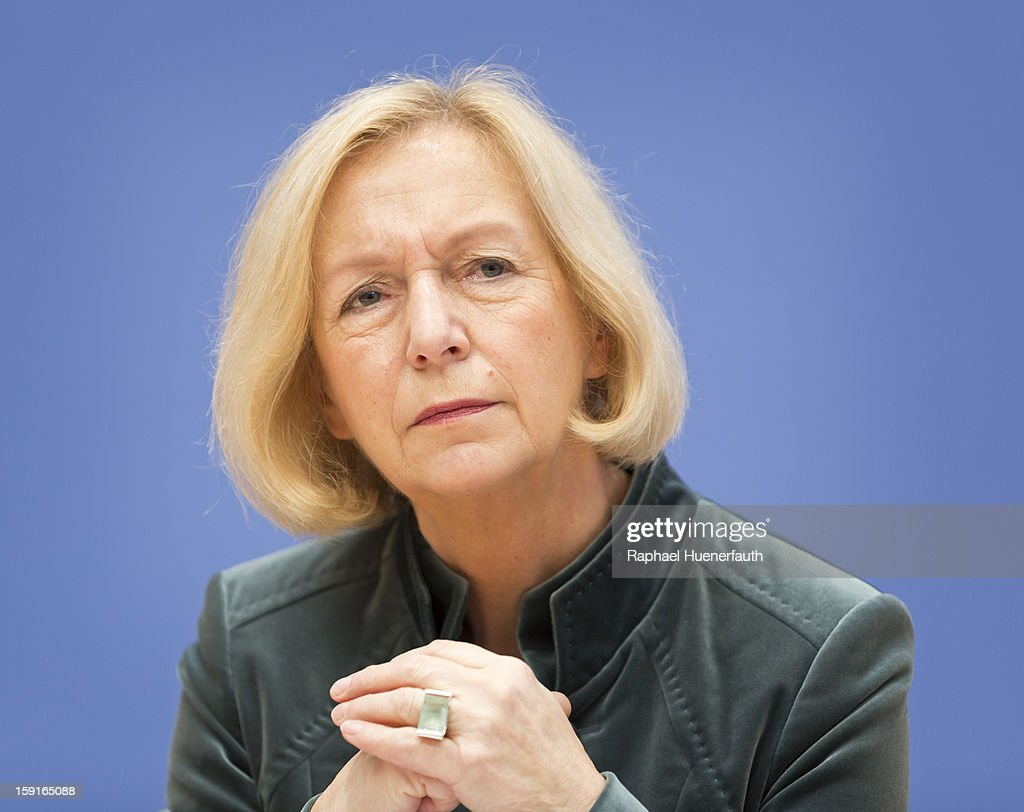 Johanna Wanka, CDU, minister for science and culture, attends a press conference on January 9, 2013 in Berlin, Germany. The draft treaty under discussion aims to protect the education quality and to make the level of education comparable between the German states. Ministers of Bavaria, Saxony and Lower Saxony met today to present their key points.