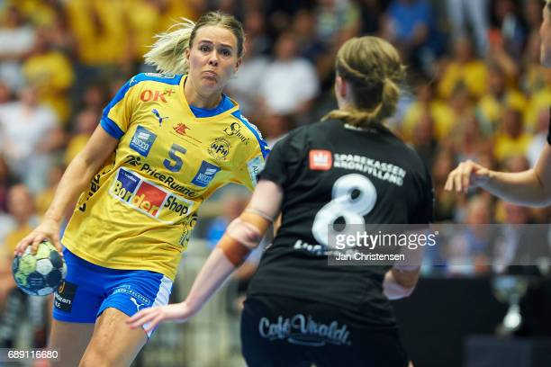 Johanna Westberg of Nykobing Falster Handbold in action during the Primo Tours Ligaen 3 Final match between Nykobing Falster Handbold and Copenhagen...