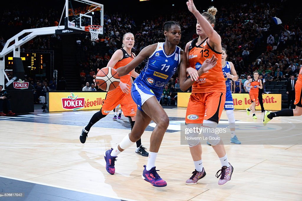 Johannah Leedham of Bourges and Valeriane Ayayi of Lattes Montpellier during the French Cup final match between Bourges and Lattes Montpellier at Hotel Accor Arena Bercy on 1st May, 2016 in Paris, France.