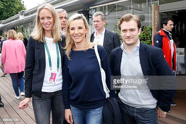 Johanne Gilbert from Lacoste Laurence Ferrari and her companion Renaud Capucon attend the Roland Garros French Tennis Open 2014 Day 10 on June 3 2014...