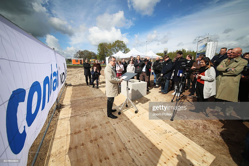 Johannes Bettsteller, Director of Vollack, speaks to the attendant crowd during the foundation stone laying ceremony for the new Condair EMEA Logistic and Production Plant on May 3, 2016 in Norderstedt, Germany.