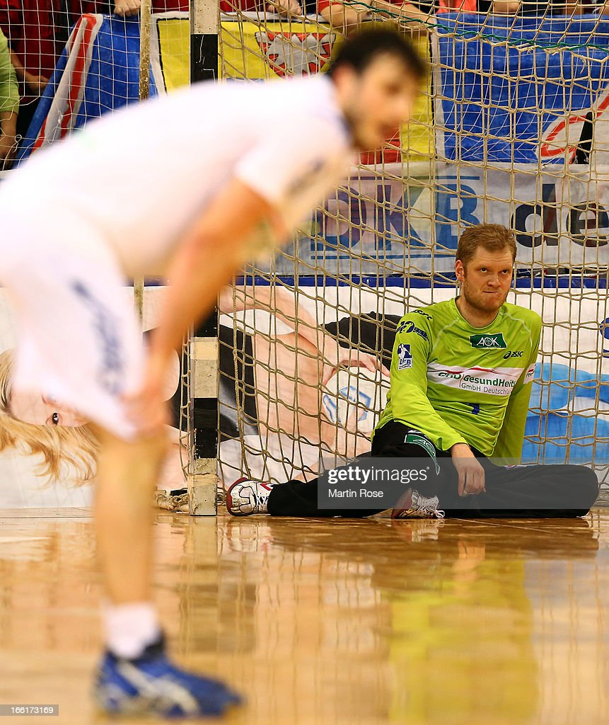 <a gi-track='captionPersonalityLinkClicked' href=/galleries/search?phrase=Johannes+Bitter&family=editorial&specificpeople=640247 ng-click='$event.stopPropagation()'>Johannes Bitter</a>, goaltender of Hamburg reacts during the DKB Handball Bundesliga match between SG Flensburg-Handewitt and HSV Hamburg at Flens Arena on April 9, 2013 in Flensburg, Germany.