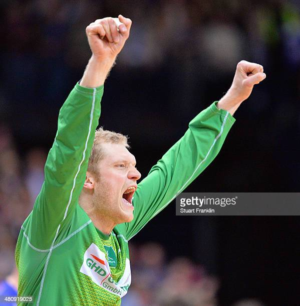 Johannes Bitter of Hamburg celebrates during the DKB Bundesliga handball match between HSV Handball and Fuechse Berlin at O2 World on March 27 2014...