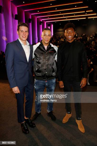 Johannes Boesmann Farid Bang and David Alaba attend the 'Fack ju Goehte 3' premiere at Mathaeser Filmpalast on October 22 2017 in Munich Germany