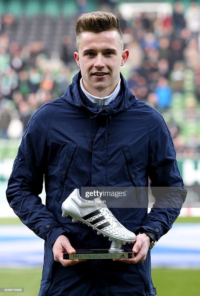 Johannes Eggestein is seen with the FIFA Under 17 World Cup Adidas silver boot prior to the Bundesliga match between Werder Bremen and 1899 Hoffenheim at Weserstadion on February 13, 2016 in Bremen, Germany.