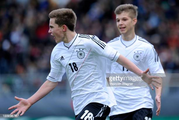 Johannes Eggestein of Germany celebrates after scoring his teams first goal during the U15 international friendly match between Germany and South...