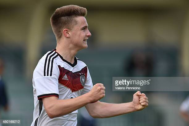 Johannes Eggestein of Germany celebrates his second goal during the International Friendly match between U16 France and U16 Germany at Stade Perruc...