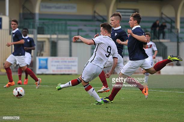 Johannes Eggestein of Germany scores his second goal during the International Friendly match between U16 France and U16 Germany at Stade Perruc on...