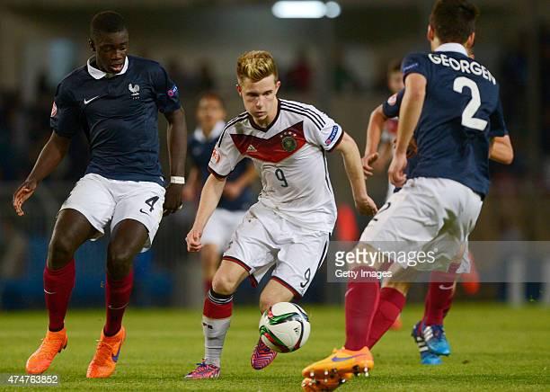 Johannes Eggestein of Germany U17 challenges Dayot Upamecano of France U17 during the UEFA European Under17 Championship Final match between Germany...