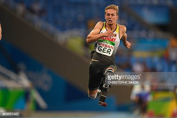 TOPSHOT Johannes Floors competes in and wins with his team the 4X100M at the Olympic Stadium during the Paralympic Games in Rio de Janeiro Brazil on...