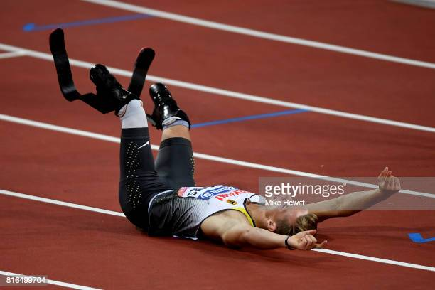 Johannes Floors of Germany celebrates winning the Men's 400m T43 Final during day four of the IPC World ParaAthletics Championships 2017 at the...