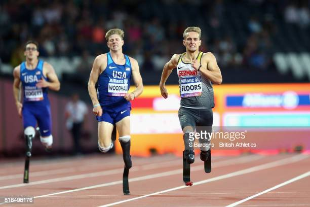 Johannes Floors of Germany crosses the line to win the gold medal in the Men's 400m T43 Final during Day Four of the IPC World ParaAthletics...