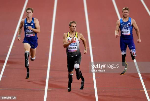 Johannes Floors of Germany Hunter Woodhall of the USA and Aj Digby of the USA compete in the Men's 400m T43 Final during day four of the IPC World...