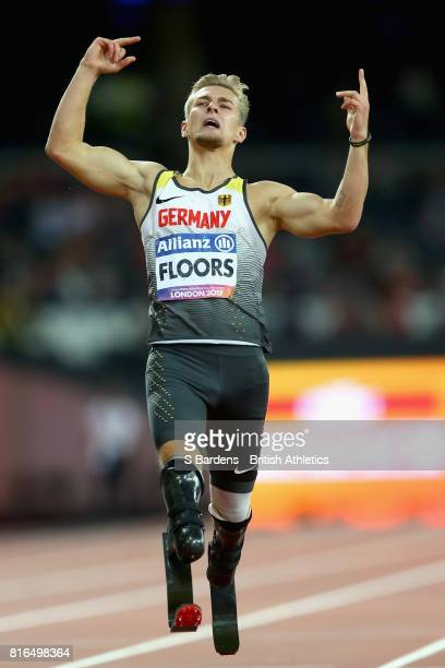 Johannes Floors of Germany reacts to crossing the line to win the gold medal in the Men's 400m T43 Final during Day Four of the IPC World...