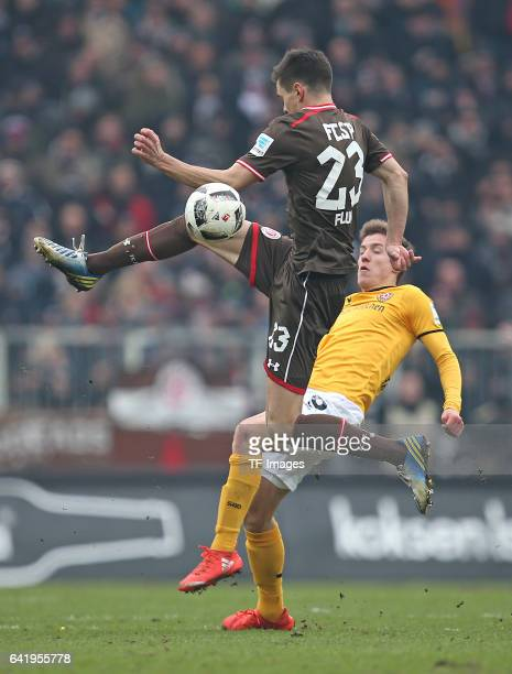 Johannes Flum of St Pauli and Niklas Hauptmann of Dynamo Dresden battle for the ball during the Second Bundesliga match between FC St Pauli and SG...