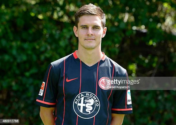 Johannes Flum poses during the Eintracht Frankfurt team presentation on July 15 2015 in Frankfurt am Main Germany