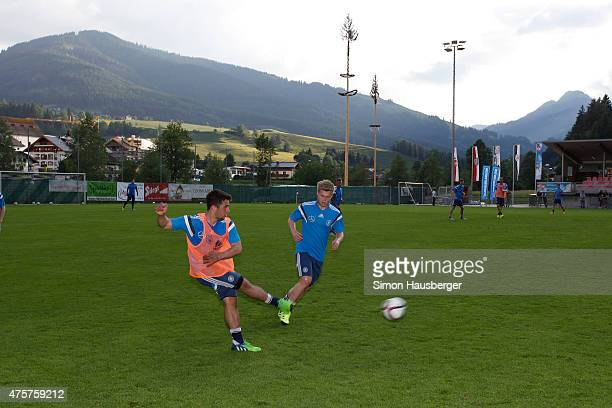 Johannes Geis and Members of the U 21 German National team during a training Session on June 3 2015 in Leogang Austria