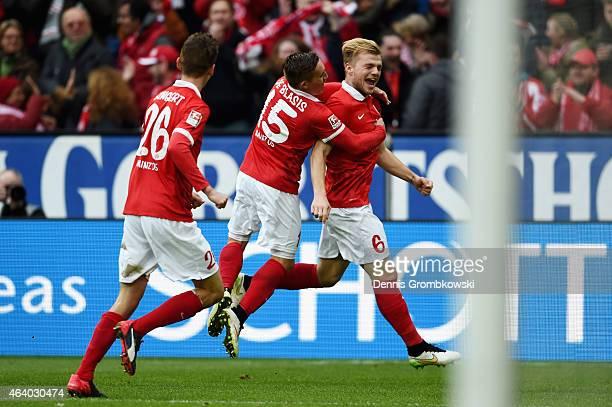 Johannes Geis of 1 FSV Mainz 05 celebrates as he scores the second goal during the Bundesliga match between 1 FSV Mainz 05 and Eintracht Frankfurt at...