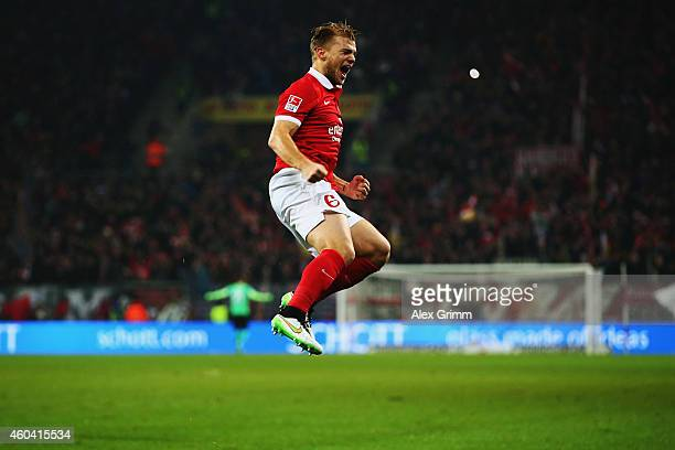 Johannes Geis of Mainz celebrates his team's first goal during the Bundesliga match between 1 FSV Mainz 05 and VfB Stuttgart at Coface Arena on...