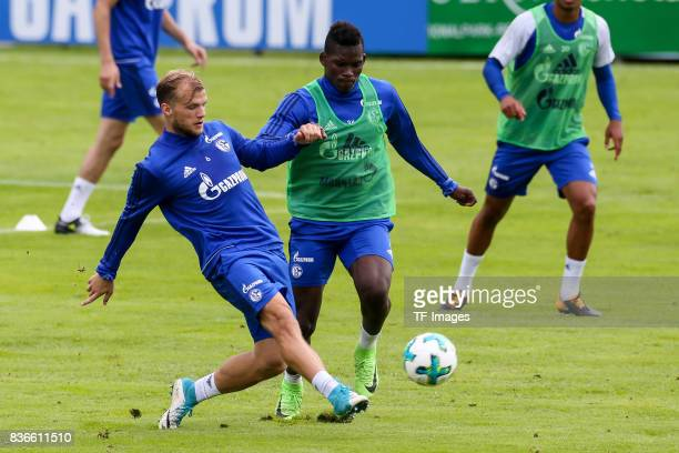 Johannes Geis of Schalke and Breel Embolo of Schalke battle for the ball during the Training Camp of FC Schalke 04 on July 27 2017 in Mittersill...