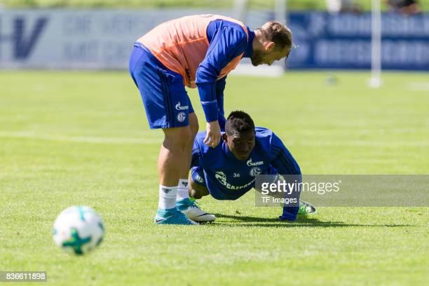 Johannes Geis of Schalke and Breel Embolo of Schalke looks on during the Training Camp of FC Schalke 04 on July 29 2017 in Mittersill Austria