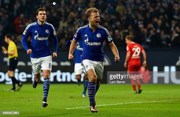 Johannes Geis of Schalke celebrates after scoring his teams first goal during the Bundesliga match between FC Schalke 04 and Hannover 96 at...