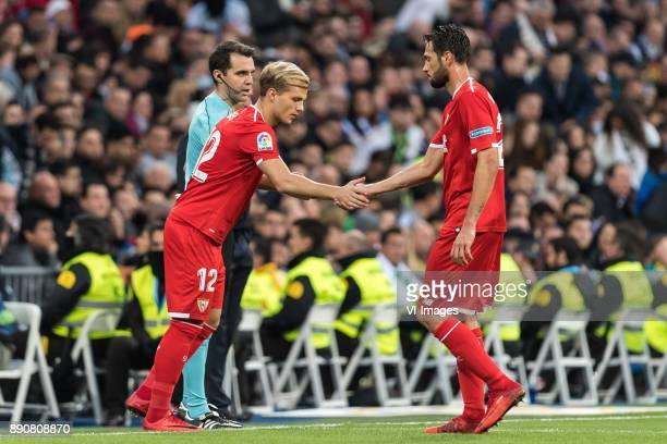 Johannes Geis of Sevilla FC Franco Vazquez of Sevilla FC during the La Liga Santander match between Real Madrid CF and Sevilla FC on December 09 2017...