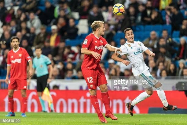 Johannes Geis of Sevilla FC Lucas Vazquez Iglesias of Real Madrid during the La Liga Santander match between Real Madrid CF and Sevilla FC on...