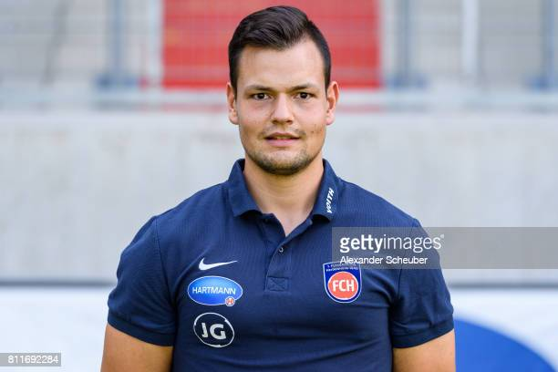 Johannes Gessler of 1 FC Heidenheim poses during the team presentation at Voith Arena on July 8 2017 in Heidenheim Germany