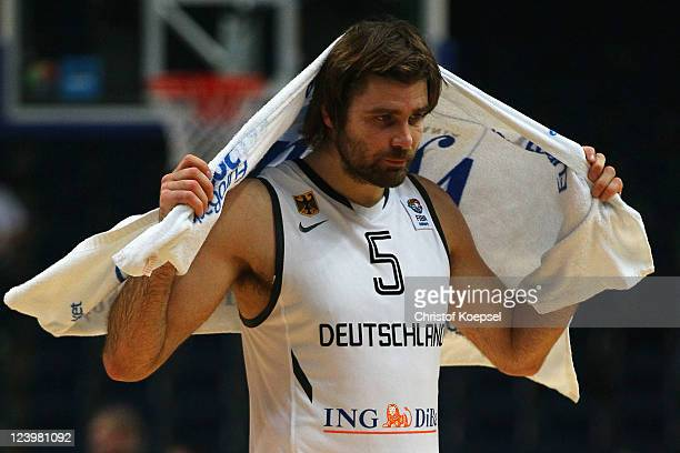 Johannes Herber of Germany looks dejected after losing 6877 the EuroBasket 2011 second round group A match between Germany and Spain at Siemens Arena...