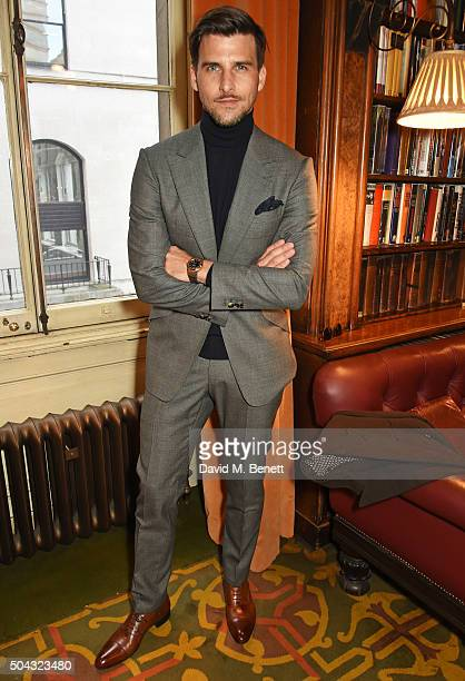 Johannes Huebl attends the Pringle Of Scotland Menswear Autumn/Winter 2016 show during London Collections Men on January 10 2016 in London England