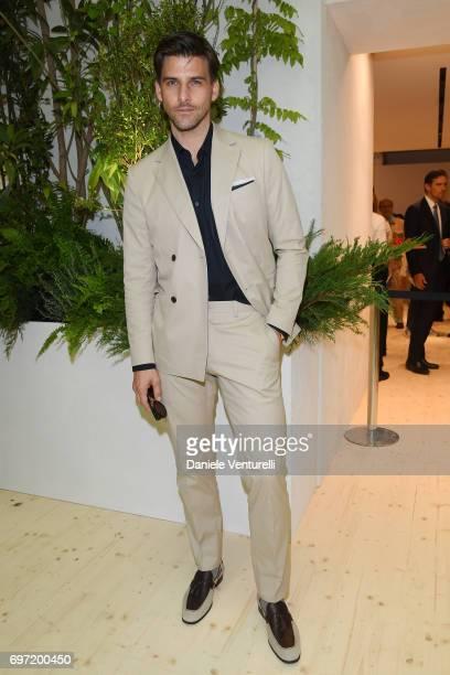 Johannes Huebl attends the Salvatore Ferragamo show during Milan Men's Fashion Week Spring/Summer 2018 on June 18 2017 in Milan Italy