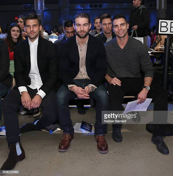 Johannes Huebl Chace Crawford and Colin Egglesfield sit front row at the Nautica Men's Fall 2016 fashion show during New York Fashion Week Men's...