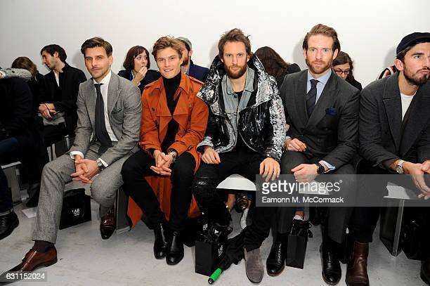 Johannes Huebl Oliver Cheshire Marc Jacques Burton and Craig McGinlay attend the CaselyHayford show during London Fashion Week Men's January 2017...