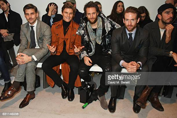 Johannes Huebl Oliver Cheshire Marc Jacques Burton Craig McGinlay and Teo van den Broeke attend the CaselyHayford show during London Fashion Week...