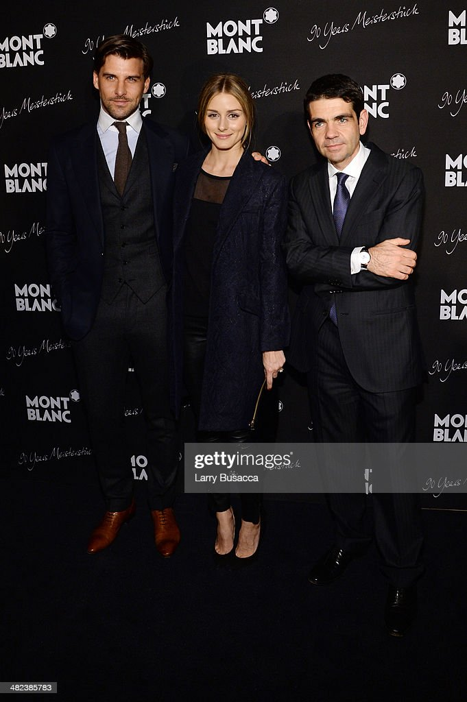 Johannes Huebl Olivia Palermo and CEO of Montblanc International Jerome Lambert attend Montblanc Celebrates 90 Years of the Iconic Meisterstuck on...