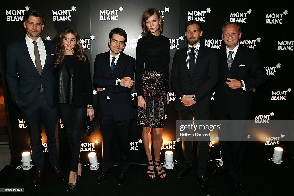 Johannes Huebl, Olivia Palermo, CEO at Montblanc Jerome Lambert, model Karlie Kloss, actor Josh Lucas and President & CEO at Montblanc North America Jan-Patrick Schmitz attend Montblanc celebrates Madison Avenue Boutique Opening at Montblanc Boutique on Madison Avenue on October 22, 2013 in New York City.