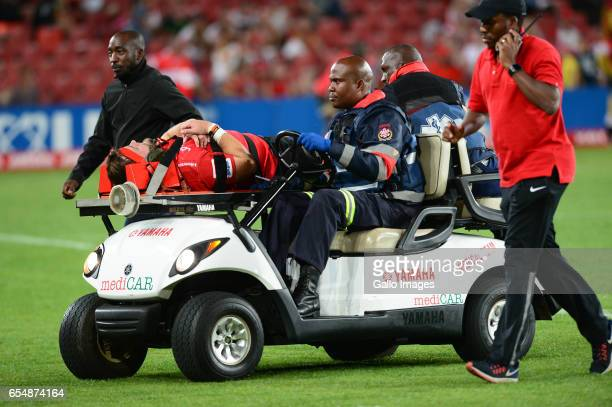 Johannes Jonker of the Lions injured during the Super Rugby match between Emirates Lions and Reds at Emirates Airlines Park on March 18 2017 in...