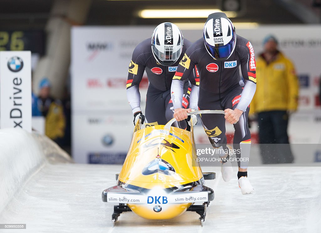 Johannes Lochner and Joshua Bluhm of Germany compete during two-men Bobsleigh 1st run of Bobsleigh and Skeleton World Championships in Innsbruck Igls, Austria, on February 13, 2016. / AFP / APA / EXPA/JOHANN GRODER / Austria OUT