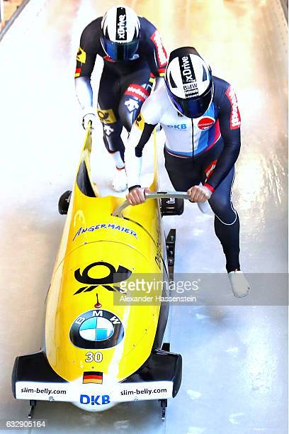 Johannes Lochner and Joshua Blum of Germany competes during first run of the 2man Bobsleigh BMW IBSF World Cup at Deutsche Post Eisarena Koenigssee...