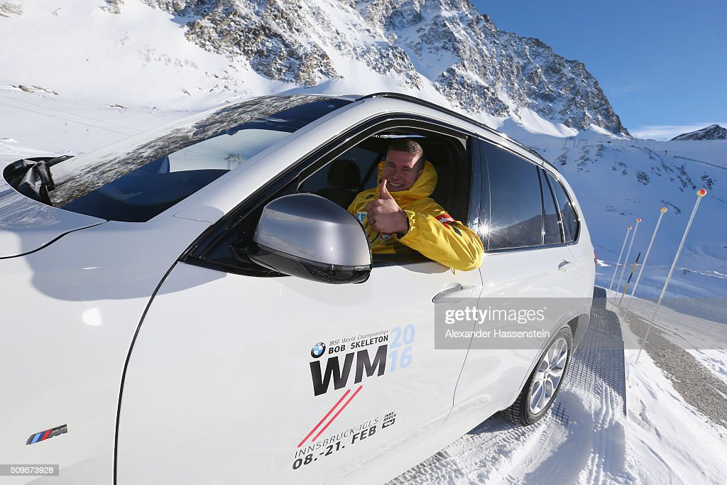 Johannes Lochner drives in a BMW during the BMW Snow Driving Experience prior to the IBSF World Championship 2016 on February 11, 2016 in Soelden, Austria.