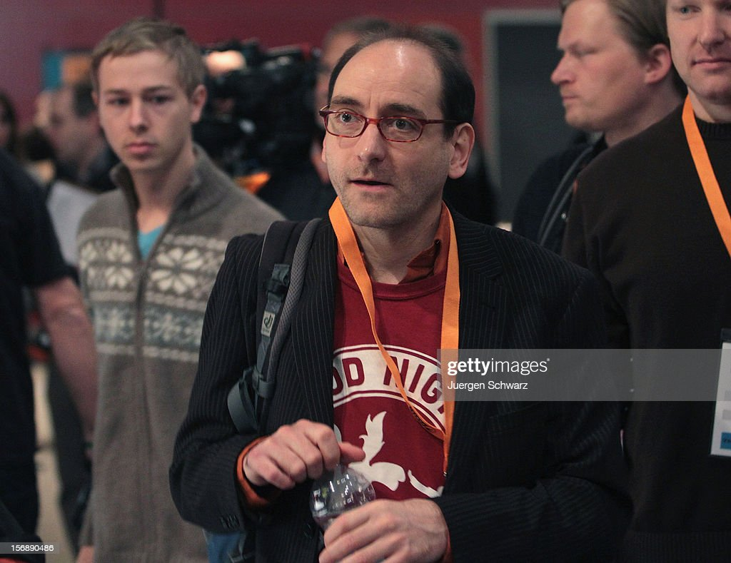Johannes Ponader attends the federal party convention of the German Pirates Party (Die Piratenpartei) on November 24, 2012 in Bochum, Germany. The Pirates, after riding an initial surge in popularity last year that landed them seats in several German state parliaments, have since seen their popularity erode as recent scandals and infighting have tarnished the party's image. Germany faces federal elections in 2013.