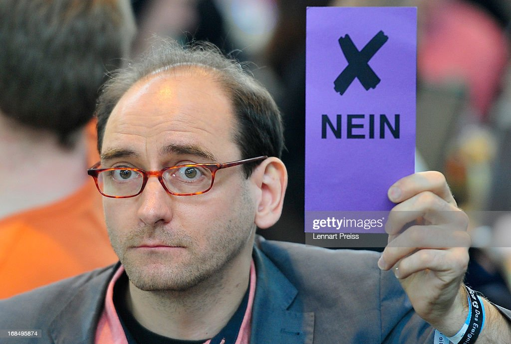Johannes Ponader, former political manager of the German Pirates Party (Die Piraten) votes during the party's federal congress on May 10, 2013 in Neumarkt, Germany. The Pirates rode a wave of popularity driven by voter discontent with Germany's established political parties that won the Pirates seats in several state parliaments. More recently, however, the Pirates have faltered, as political infighting, leadership changes and an unclear political message have contributed to a loss of support. Germany faces federal elections in September and at current polls the Pirates would fail to pass the 5% hurdle necessary to gain seats in the Bundestag.