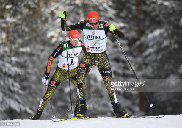 Johannes Rydzek of Germany and Eric Frenzel of Germany compete in the Men's Nordic Combined 10KM Cross Country during the FIS Nordic World Ski...