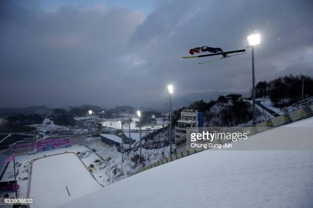 Johannes Rydzek of Germany competes in the Individual Gundersen 10km Large Hill trial during the FIS Nordic Combined World Cup presented by Viessmann...